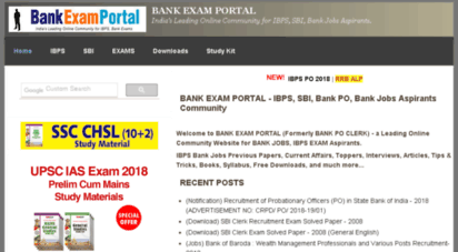 Welcome to Bankpoclerk com - BANK EXAM PORTAL - IBPS, SBI, Bank PO