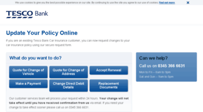 Welcome To Gi Service Request Tescobank Com Manage My Policy