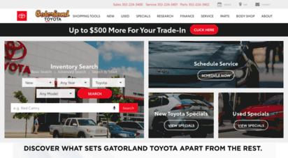 Description: Go Gatorland. Gatorland Toyota Is Your Source For New Toyotas  And Used Cars In Gainesville, FL. Browse Our Full Inventory Online And Then  Come.