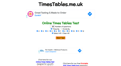 Welcome to Timestables.me.uk - Online Times Tables Tests ...