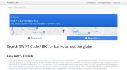 a1feeds.com - bank routing number, ifsc code, micr code, bank swift code, uk bank details, sort code, bsb numbers