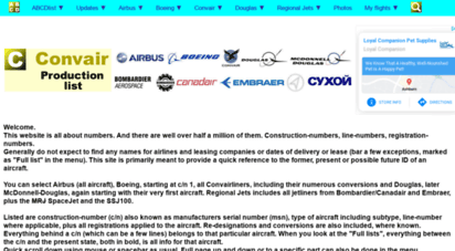 abcdlist.nl - airbus, boeing, convair and douglas production list