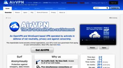 airvpn.org - airvpn - the air to breathe the real internet - airvpn