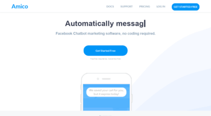 amico.io - shopify abandoned cart recovery and facebook messenger marketing - get started free