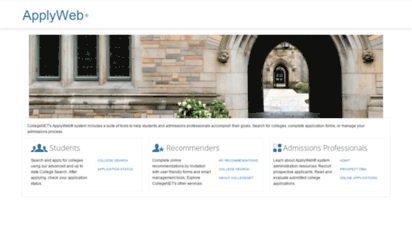 applyweb.com - applyweb  online college applications, digital evaluation forms, and admissions solutions from collegenet