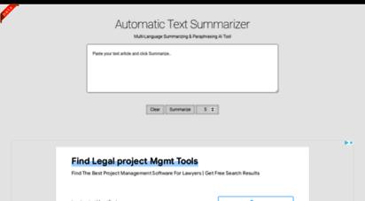 autosummarizer.com - online text summary generator - free automatic text summarization tool