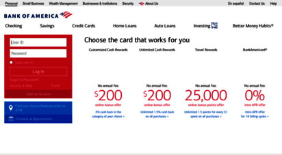 bankofamerica.com - bank of america - banking, credit cards, loans and investing