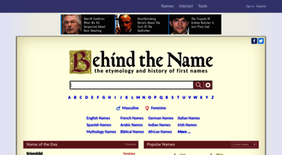 behindthename.com - the meaning and history of first names - behind the name