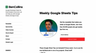 benlcollins.com - welcome google sheets fans! - ben collins