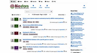 biostars.org - latest posts