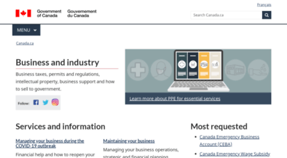 canadabusiness.ca - welcome page  page d´accueil