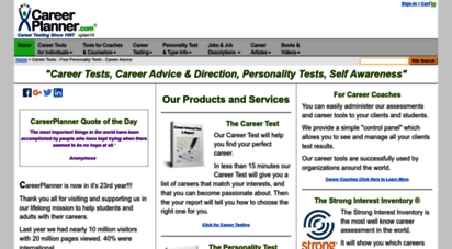 careerplanner.com - career tests - free personality tests - career advice