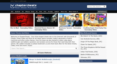 chaptercheats.com - chapter cheats - your cheats, cheat codes, tips, hints and faqs provider