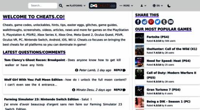 cheats.co - ps4, xbox one & wii u cheats & codes - cheats.co