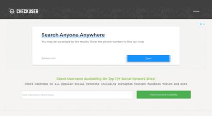 checkuser.org - username checker - social media name & domain availability checker
