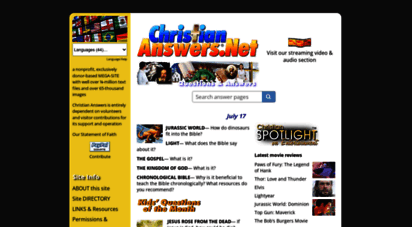 christiananswers.net - christian answers network home • multilingual answers, reviews, ministry resources, and more! • christiananswers.net