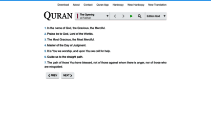 clearquran.com - quran in english. clear and easy to read. text, audio, search, download
