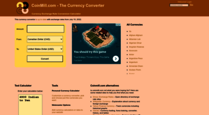 coinmill.com - currency exchange rate conversion calculator