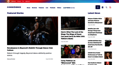 consequenceofsound.net - consequence of sound  music, movie, tv and pop culture news for the mainstream and underground