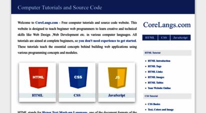 corelangs.com - free computer tutorials and source code