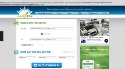 costtodrive.com - distance & cost to drive
