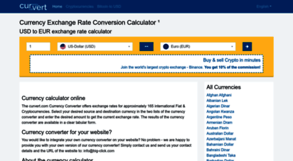 curvert.com - currency exchange rate conversion calculator