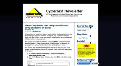 cybertext.wordpress.com - cybertext newsletter  the official newsletter/blog of cybertext consulting - technical communication specialists