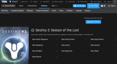 Welcome to Db destinytracker com - Home - Armory - Destiny 2 DB