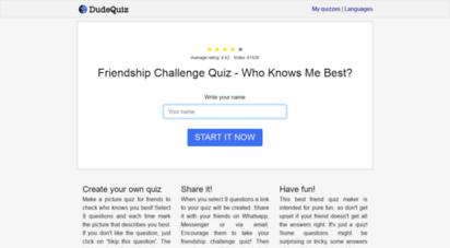 dudequiz.com - dudequiz - quiz your dude!