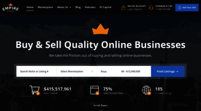 empireflippers.com - empire flippers - website brokers  vetted marketplace