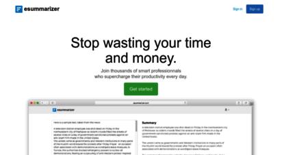 esummarizer.com - esummarizer. the smartest tool to summarize any text online.