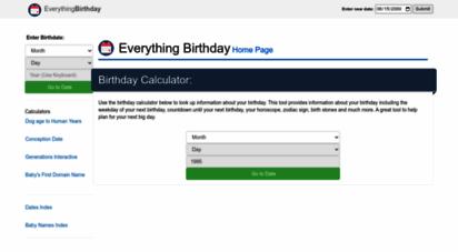 everything-birthday.com - homepage  everything birthday