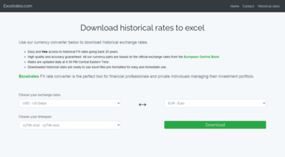 excelrates.com - download historical exchange rates from the ecb to excel