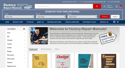 factoryrepairmanuals.com - factoryrepairmanuals.com  factory service manuals, original auto shop repair books