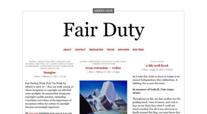 fairduty.wordpress.com - fair duty  from fair dealing to fair duty, understanding the limits of copyright