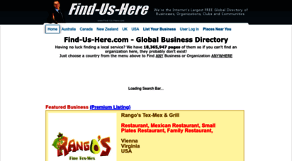 find-us-here.com - free business directory covering australia, canada, new zealand, uk and usa