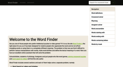 findwords.info - search words by mask - solving anagrams - rhyming - word finder