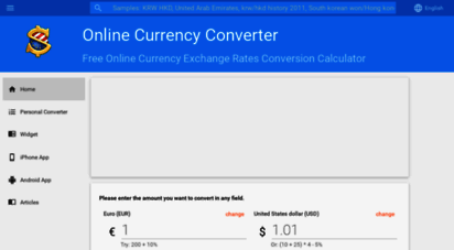 freecurrencyrates.com - free online exchange rates conversion calculator