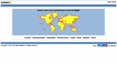 gaisma.com - sunrise, sunset, dawn and dusk times around the world - gaisma