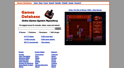 gamesdatabase.org - games database - online games system repository