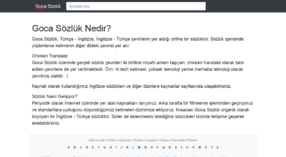 gocasozluk.com - ingilizce - türkçe sözlük - goca sözlük