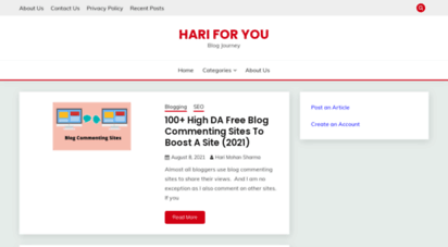 hariforyou.com - hari for you - blog journey