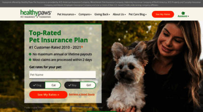 healthypawspetinsurance.com - pet insurance for dogs & cats - rated best plan 2020  healthy paws