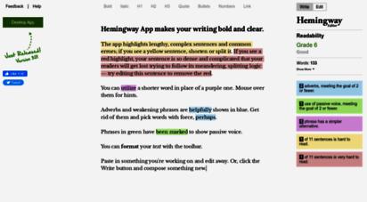 hemingwayapp.com - hemingway editor