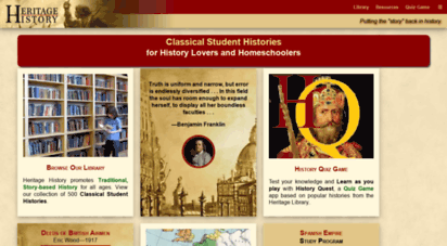 heritage-history.com - heritage history  homeschool history curriculum