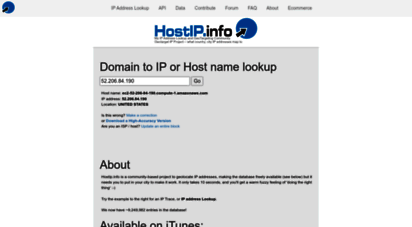 hostip.info - ip address lookup hostip.info