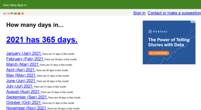 howmanydaysin.com - how many days in...