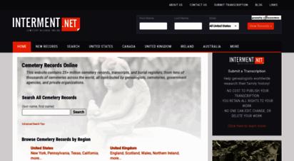 interment.net - cemetery records online - interment.net