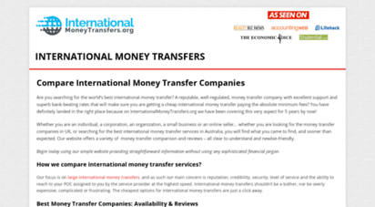internationalmoneytransfers.org - compare international money transfer rates with imt.org