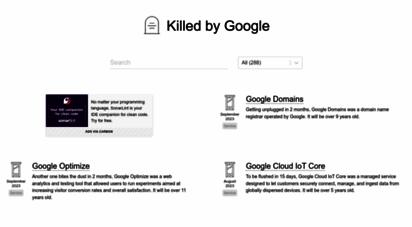 killedbygoogle.com - google graveyard - killed by google